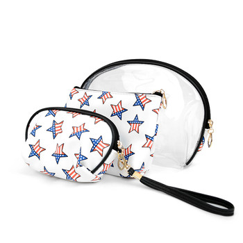 USA Stars Travel Make Up Pouch 3pc Cosmetic Bags with attached Mirror LNCB1606