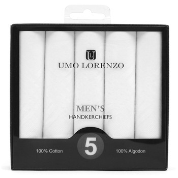 Men's Boxed Plain Cotton Handkerchiefs 5pcs Set HB005