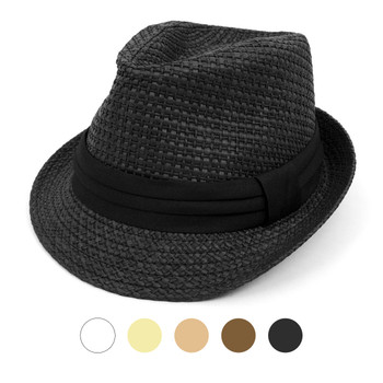 Spring/Summer Basket Weave Fashion Trilby Fedora with Black Band FSS17114