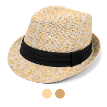 Spring/Summer Twill Weave Fashion Trilby Fedora with Tinsel Strips & Black Band FSS17115