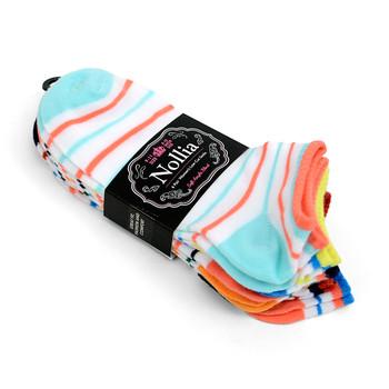 6pairs Women's Multicolor Striped Low Cut Socks LN6S1628