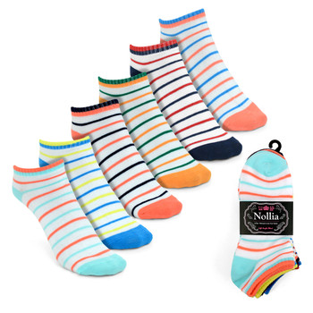 Assorted Pack (6 pairs) Women's Multicolor Striped Low Cut Socks LN6S1628