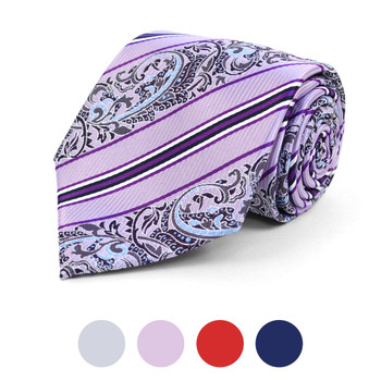 Striped Paisley Microfiber Poly Woven Tie - MPW5815