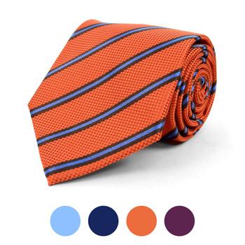 Striped Microfiber Poly Woven Tie