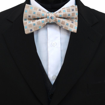 3pc Prepack Men's Poly Woven Geometric Banded Bow Tie FBB5833