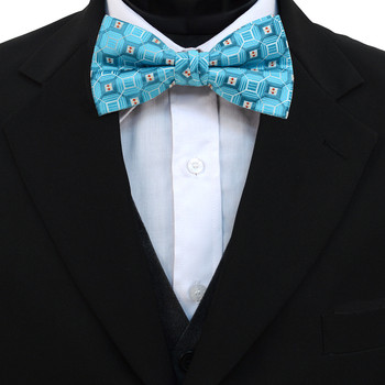 3pc Prepack Men's Poly Woven Geometric Banded Bow Tie FBB5837