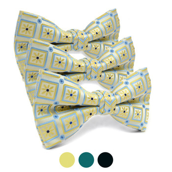 3pc Prepack Men's Poly Woven Floral Geometric Banded Bow Tie FBB5838