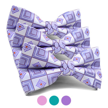 3pc Prepack Men's Poly Woven Geometric Banded Bow Tie FBB5839