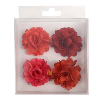 Assorted Solid Mini Bouquet Clutch Back Flower Lapel Pin 4pc Combo Set 4FLP-BURG
