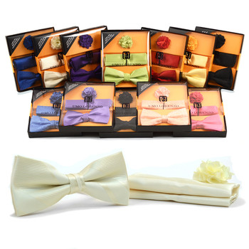 12pc Assorted Pack Men's Boxed Solid Micro Bow Tie and Hanky with Lapel Pin Set BTHL4000