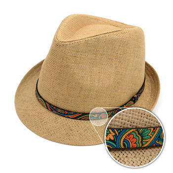 Spring/Summer Woven Fashion Trilby Fedora with Paisley Band FSS17120
