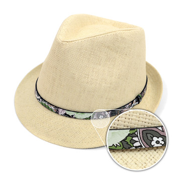 Spring/Summer Woven Fashion Trilby Fedora with Floral Band FSS17118