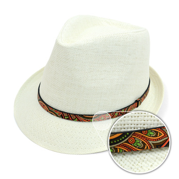 Spring/Summer Woven Fashion Fedora with Paisley Band FSS171119