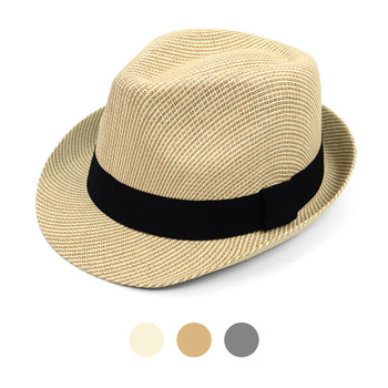Spring/Summer Woven Fashion Trilby Fedora with Black Band FSS17108