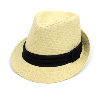 Spring/Summer Basket Weave Fashion Trilby Fedora with Black Band FSS17111