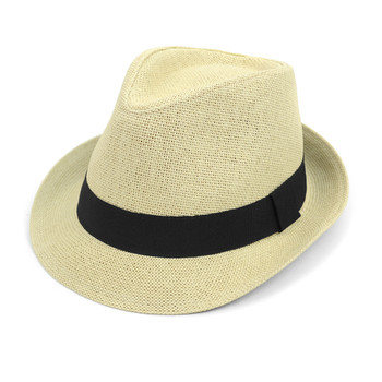 Spring/Summer Classic Woven Fashion Trilby Fedora with Black Band FSS17117