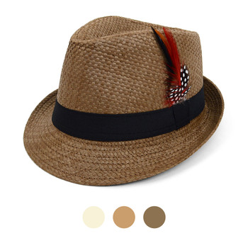 Spring/Summer Woven Trilby Fedora Hat with Feather FSS17123