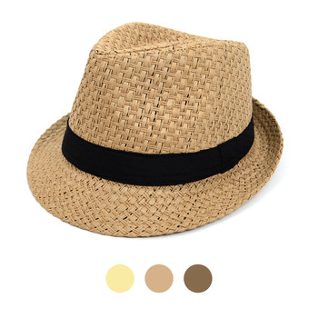 Spring/Summer Woven Trilby Fedora Hat with Black Band FSS17126