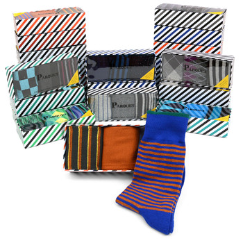 24-Boxes (72pairs) Assorted Men's Dress Socks Striped Gift Box Set (3 pairs per box) - MFS2000