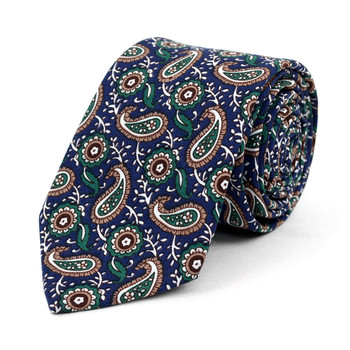 "Paisley Wedding Green & Navy 2.5"" Cotton Slim Tie - NVC17134"