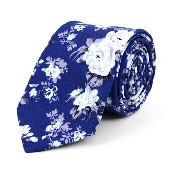 "Floral Wedding Blue 2.5"" Cotton Slim Tie - NVC17118"