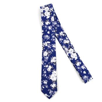 """Floral Blue 2.5"""" Cotton Slim Tie - NVC17118"""