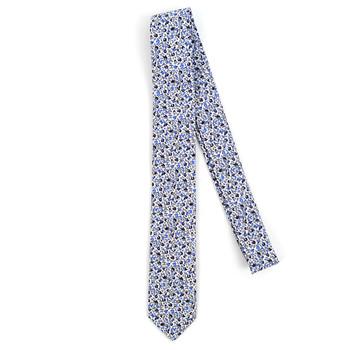 """Floral White & Blue 2.5"""" Cotton Slim Tie - NVC17119"""