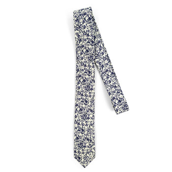 "Floral Ivory & Navy 2.5"" Cotton Slim Tie - NVC17122"