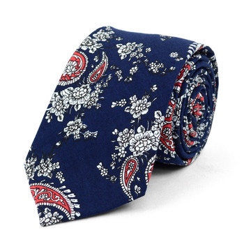 "Paisley Navy & Red 2.5"" Cotton Slim Tie - NVC17116"