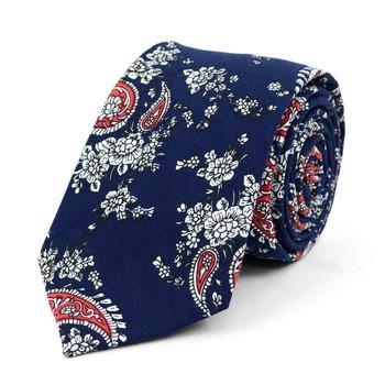 "Paisley Wedding Navy & Red 2.5"" Cotton Slim Tie - NVC17116"