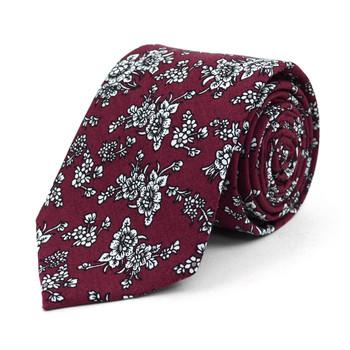 """Floral Wedding Burgundy & White 2.5"""" Cotton Slim Tie - NVC17125"""