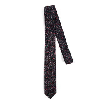 "Floral Black & Red 2.5"" Cotton Slim Tie - NVC17126"