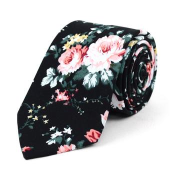 "Floral Wedding Black & Rose 2.5"" Cotton Slim Tie - NVC17127"