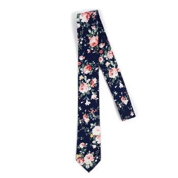 "Floral Navy 2.5"" Cotton Slim Tie - NVC17129"