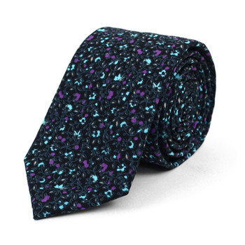 "Floral Black & Purple 2.5"" Cotton Slim Tie - NVC17132"