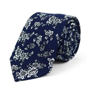 "Floral Wedding Navy & White 2.5"" Cotton Slim Tie - NVC17124"
