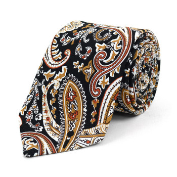 "Paisley Black & Gold 2.5"" Cotton Slim Tie - NVC17136"