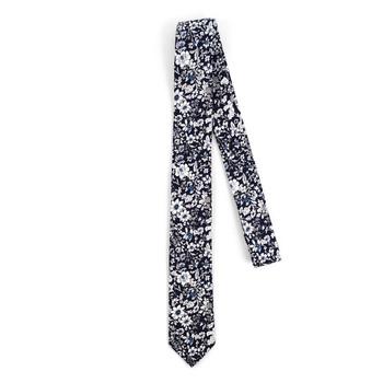 "Floral Navy & White 2.5"" Cotton Slim Tie - NVC17137"