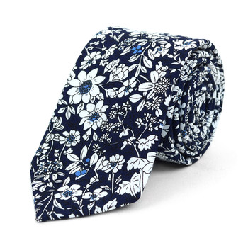 "Floral Wedding Navy & White 2.5"" Cotton Slim Tie - NVC17137"