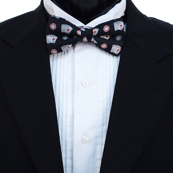 Men's Poker Chips & Cards Banded Bow Tie
