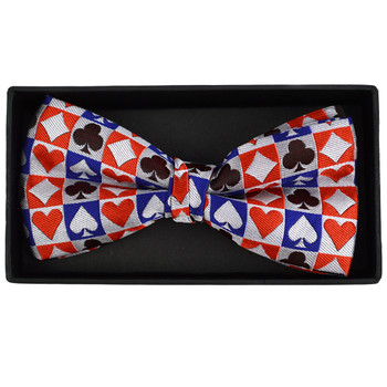 Men's Checkered Poker Card Suits Banded Bow Tie