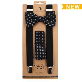 3pc Men's Black Clip-on Suspenders, Square Pattern Bow Tie and Hanky Sets FYBTHSU-BK12