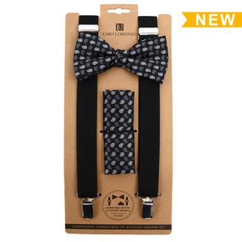 3pc Men's Black Clip-on Suspenders, Paisley Pattern Bow Tie and Hanky Sets FYBTHSU-BK13