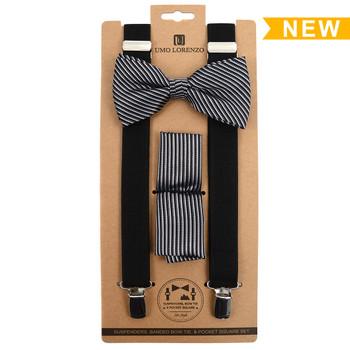 3pc Men's Black Clip-on Suspenders, Striped Pattern Bow Tie and Hanky Sets FYBTHSU15