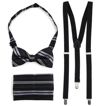 3pc Men's Black Clip-on Suspenders, Double Striped Pattern Bow Tie and Hanky Sets FYBTHSU16