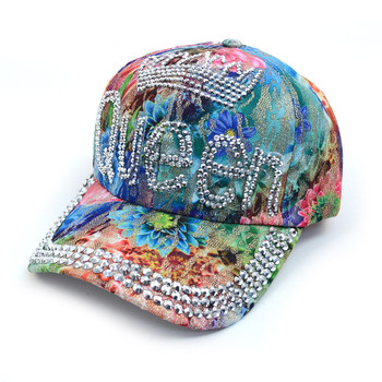 """Queen"" Bling Studs Flower Baseball Cap CFP9581"