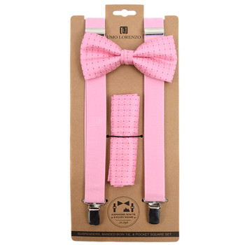 3pc Men's Pink Clip-on Suspenders, Pink Dotted Bow Tie & Hanky Sets FYBTHSUPK3