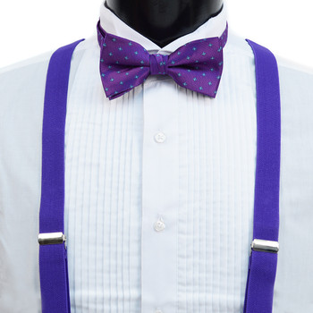 3pc Men's Purple Clip-on Suspenders, Flower Pattern Bow Tie & Hanky Sets FYBTHSUPUR3
