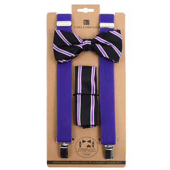 3pc Men's Purple Clip-on Suspenders, Striped Pattern Bow Tie & Hanky Sets FYBTHSUPUR4