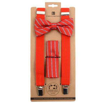 3pc Men's Red Clip-on Suspenders, Striped Pattern Bow Tie & Hanky Sets FYBTHSURD4